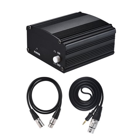 1-Channel 48V Phantom Power Supply with Adapter & 3.5mm Male to XLR Female & XLR Male to XLR Female Audio Cable for Condenser Microphone Studio Music Recording Broadcasting Equipment (Studio Equipment For Music)
