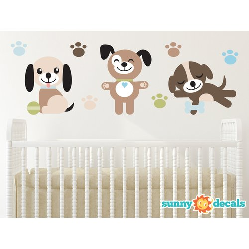 Sunny Decals Adorable Puppy Dogs Fabric Wall Decal