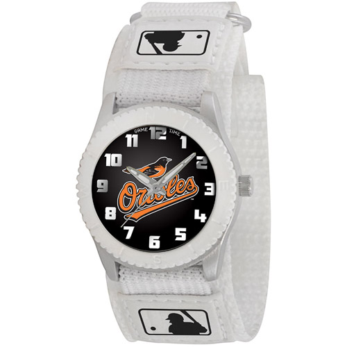 Game Time MLB Kids' Baltimore Orioles Rookie Series Watch, White Velcro Strap