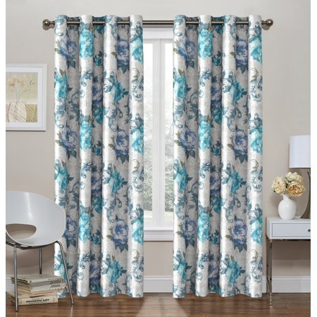 2 Pack: Regal Home Collections Decor Energy Efficient Floral Thermal Foamback Grommet Curtains - Blue