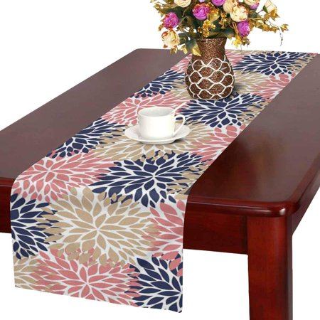 MKHERT Dahlia Pinnata Flower Coral Beige and Navy Blue Table Runner Home Decor for Wedding Banquet Decoration 16x72 Inch