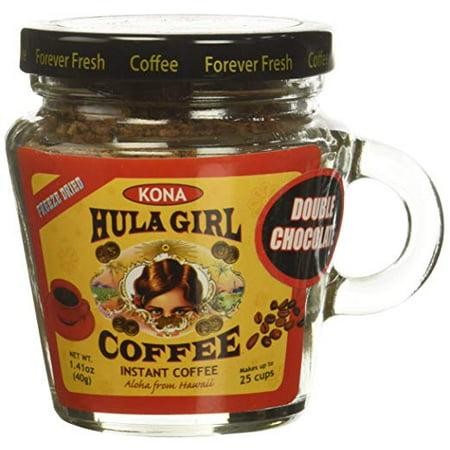 Hula Girl Kona Blend Freeze Dried Instant Coffee Double Chocolate Small Jar, 40 (Double Chocolate Coffee)