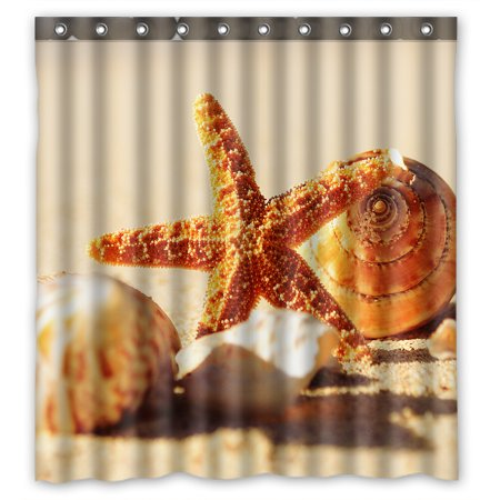 YKCG Tropical Island Sandy Beach Seashell Starfish Waterproof Fabric Bathroom Shower Curtain 66x72 inches (Seashell Shower Curtain)