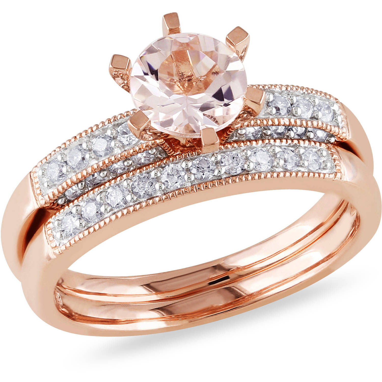 Tangelo 4 5 Carat T.G.W. Morganite and 1 3 Carat T.W. Diamond 10kt Pink Gold Bridal Set by Delmar Manufacturing LLC