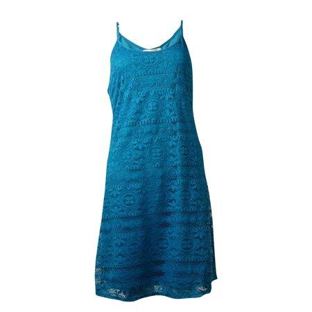 Crochet Spaghetti Strap - Love, Fire Women's Spaghetti Strap Crochet Mini Dress