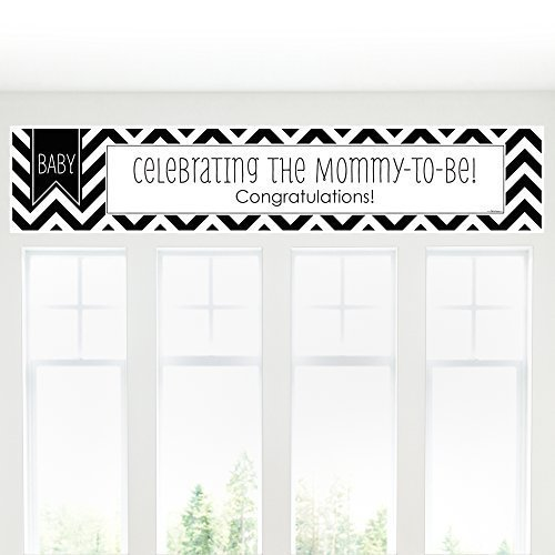 Chevron Black and White - Baby Shower Decorations Party Banner