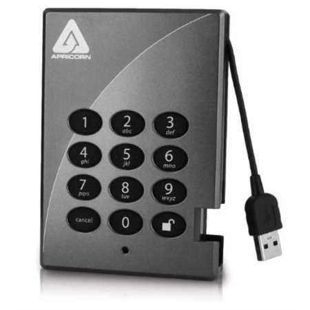 apricorn aegis padlock ssd 128 gb usb 2.0 secure 256-bit aes encrypted portable external solid state hard drive a25-pl256-s128 (grey)