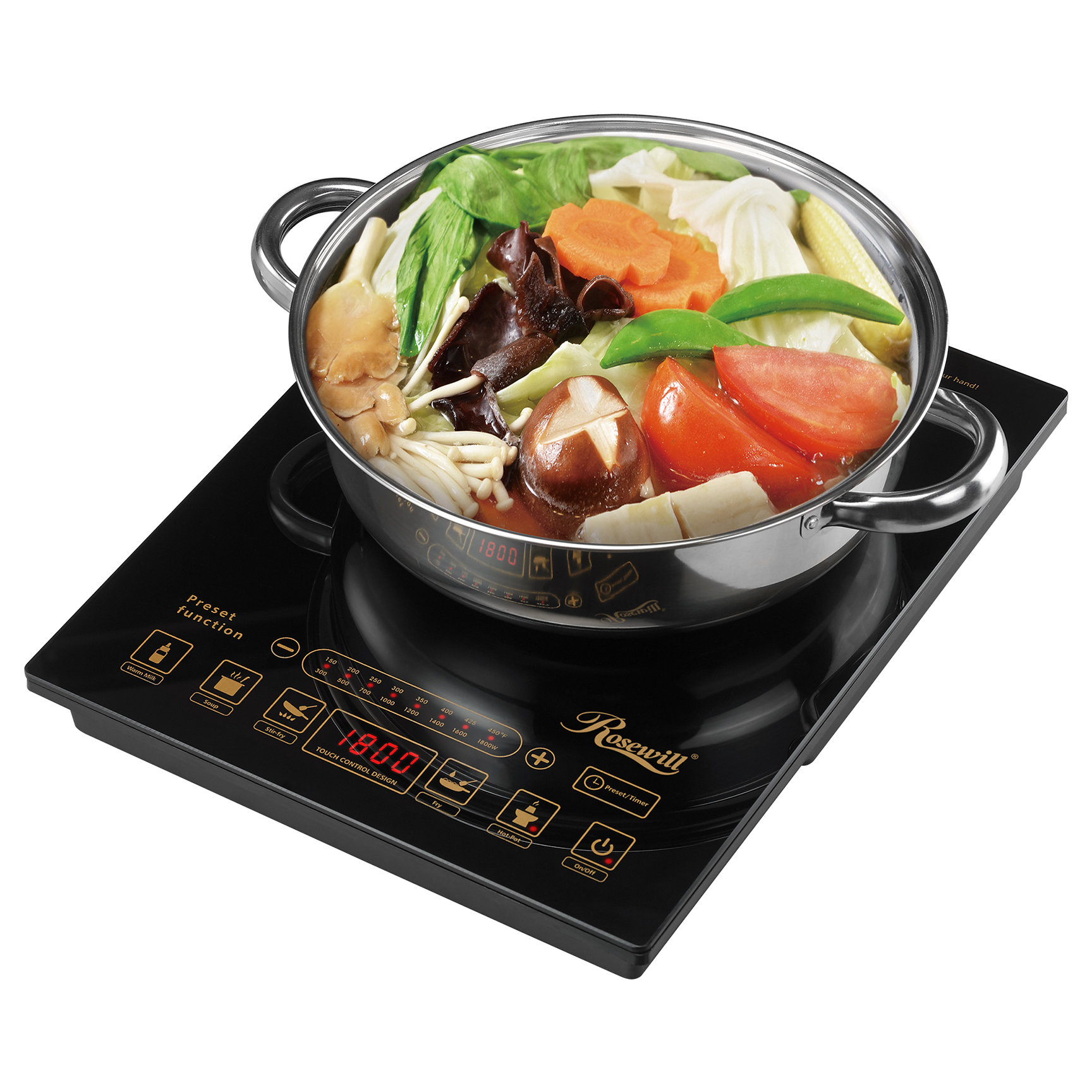 Rosewill Portable Induction Cooker Electric Hot Plate Includes 3.5Qt Stainless Steel Pot RHAI-16002