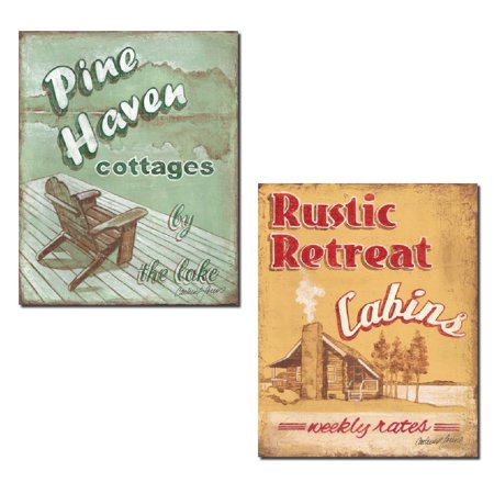 Cottage Retreat Poster (Popular Retro Pine Haven Cottages & Rustic Retreat Cabin Advertisement Signs; Two 11x14in Poster Prints )