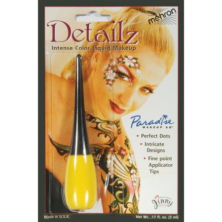 Paradise AQ Detailz w Applicator Intense Color .17oz Liquid Makeup, Yellow (Paradise Makeup Aq)