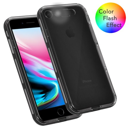 iPhone 8 Case, Dual Layer Slim Fit Soft TPU Case Hard Bumper LED Color Flash Effect Case Light up Incoming Call Flash Cover for Apple iPhone 8 - Clear/ Black, Built in Flash Slider