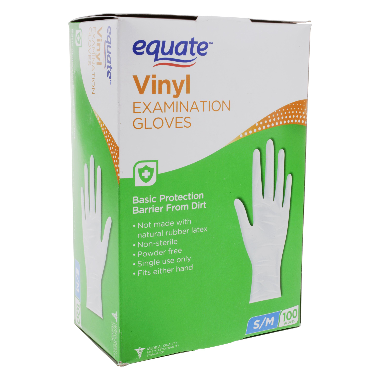 Equate Vinyl Examination Gloves, 100 Ct