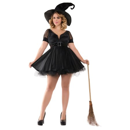 Bewitching Pin-Up Witch Adult Costume - Plus Size 3X (Snow White Costume Plus Size)