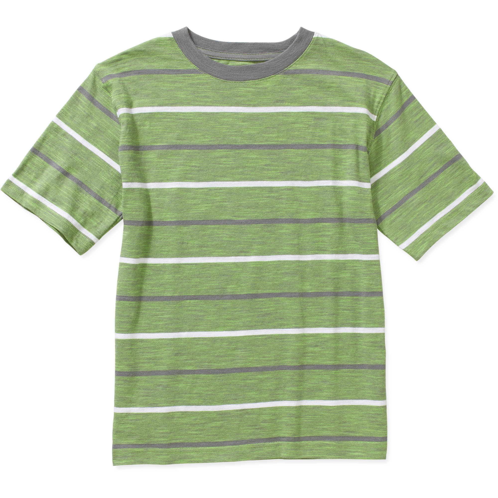 Faded Glory Boys' Short Sleeve Micro Stripe Crew Tee