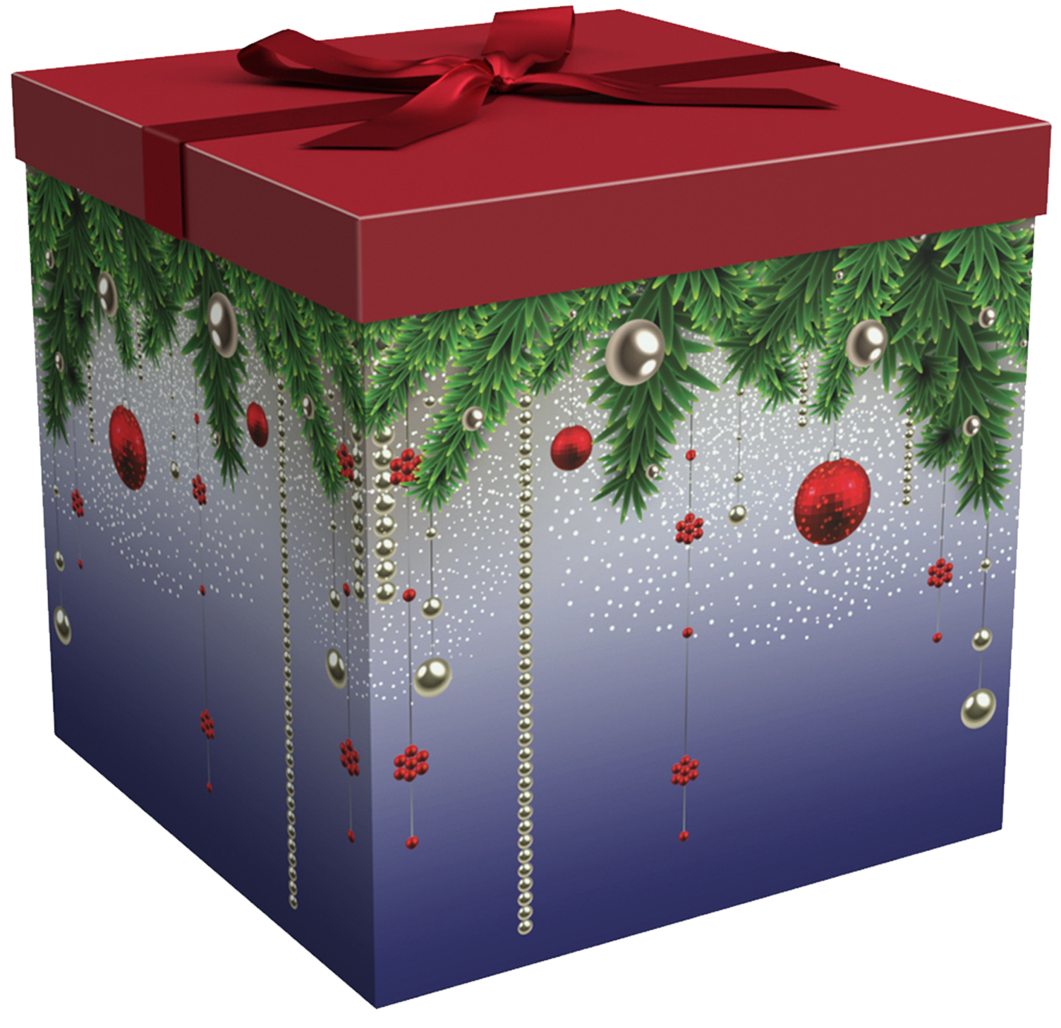Gift Box 12x12x12 Silent Night Collection - Easy to Assemble & Reusable - No Glue Required - Ribbon, Tissue Paper, and Gift Tag Included - EZ Gift Box by Endless Art US