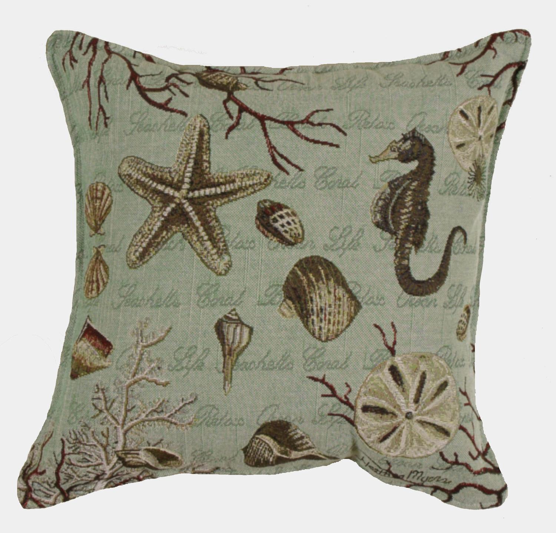 "Set of 2 Seafoam Nautical Ocean Life Square Decorative Tapestry Throw Pillows 17"""