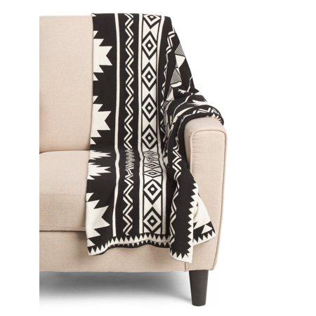 Aztec Print Cotton Knit Throw Blanket Southwestern Tribal Modern