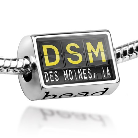 Bead DSM Airport Code for Des Moines, IA Charm Fits All European (Des Moines Ia 50395 Usps Sort Facility)