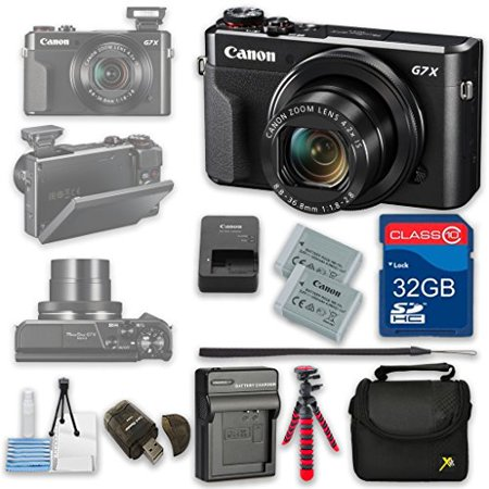 Canon PowerShot G7 X Mark II Digital Camera Wi-Fi Enabled + 32GB High Speed SD Card + Camera Case + Card Reader + Cleaning Kit + Extra Battery and Charger + Flexible Tripod