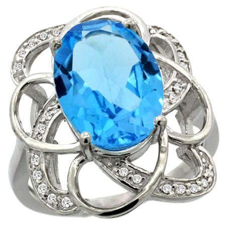 14k White Gold Natural Swiss Blue Topaz Floral Design Ring 13x9 mm Oval Shape Diamond Accent, 7/8inch wide