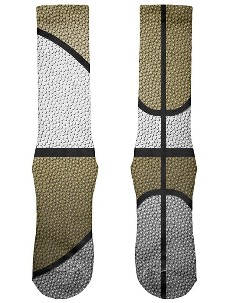 Championship Basketball White & Gold All Over Soft Socks