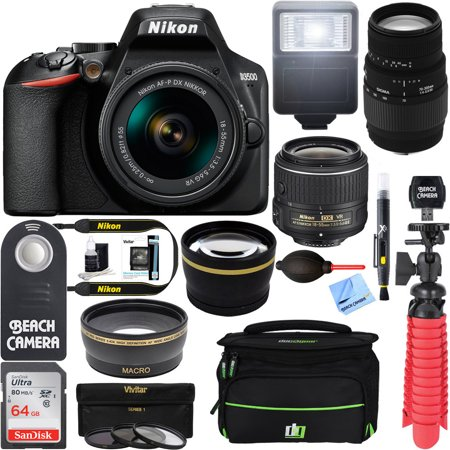Nikon D3500 24.2MP DSLR Camera (1590) + (18-55mm VR Nikon & 70-300mm SLD DG Sigma Lens Package, Black) + Bundle 64GB SDXC Memory + Photo Bag+Wide Angle Lens + 2x Telephoto+Flash + Tripod +