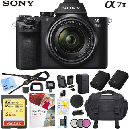 Sony a7II Full-Frame Alpha Mirrorless Digital Camera with FE 28-70mm F3.5-5.6 OSS Lens ILCE-7M2K/B with Extra Battery Case 32GB Memory Card Pro Bundle