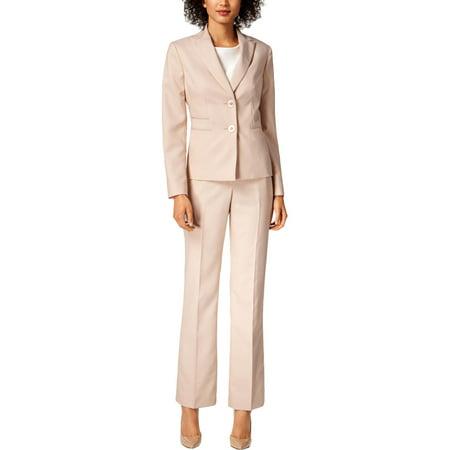 Le Suit Womens Petites Three-Pocket Professional Pant Suit Pink 2P