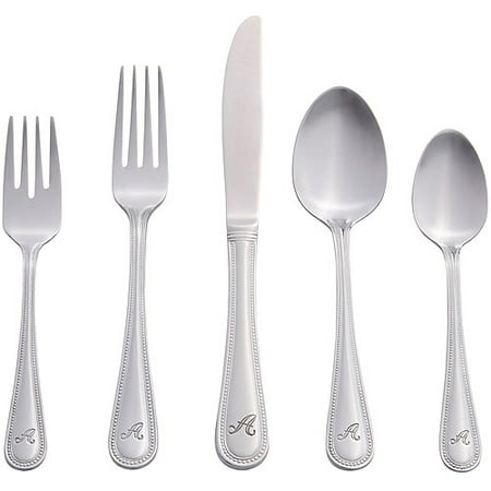 RiverRidge 46-Piece Monogrammed Flatware, Beaded Pattern (Bead Flatware)