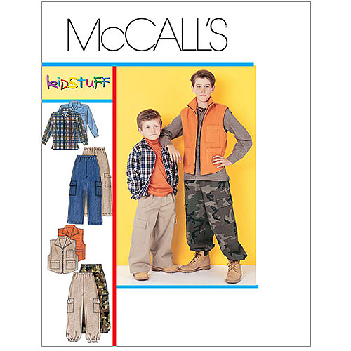 McCall's Pattern Children's and Boys' Shirt, Vest and Pull-On Pants, Y (XS, S)