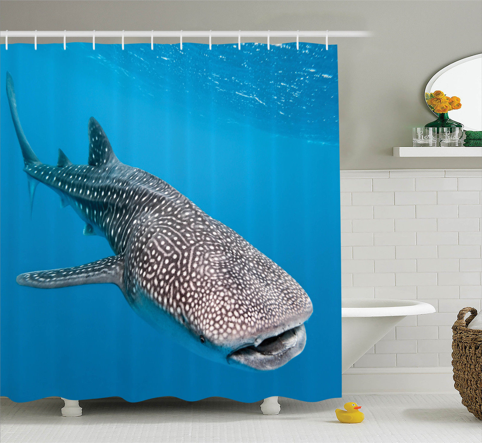 Sea Animals Decor Whale Shark Swimming Predators Hunter Clear Water Under The Sea Picture, Bathroom Accessories, 69W X 84L Inches Extra Long, By Ambesonne