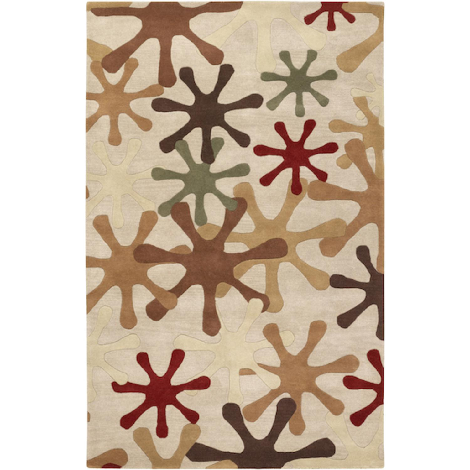 6' x 9' Urbane Jacks Carnelian Red and Army Green Wool Area Throw Rug