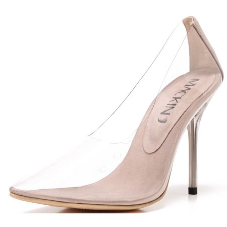 Stiletto Heel Slingback Pumps - 260-1 Transparent Clear Pointed Pointy Toe Slip On Stiletto High Heel Pumps Nude