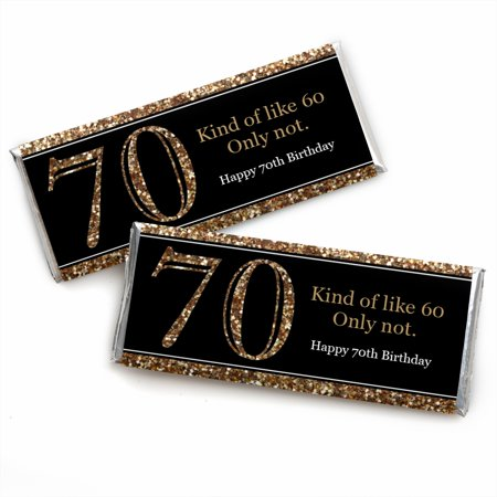 Adult 70th Birthday - Gold - Candy Bar Wrappers Birthday Party Favors - Set of 24