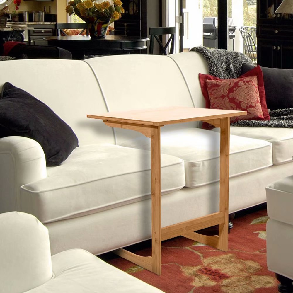 60x40x65cm L-shaped Bamboo Sofa Side Table Sandal Wood Color