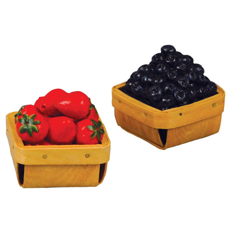 18 In Doll Farm Fresh Food Accessory, Strawberries & Blueberries in Pint Baskets