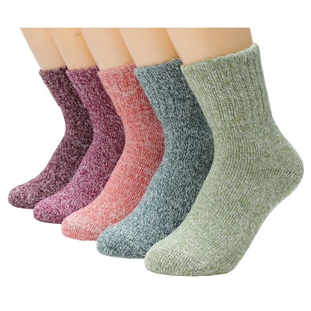 Women Winter Wool and Cotton Blend Crew Socks 5 Pairs/set