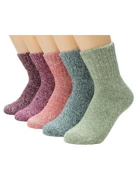 Women Winter Wool and Cotton Blend Crew Socks 5 Pairs/set