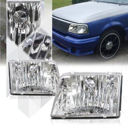 Chrome Housing Crystal Clear Lens Headlight For 93 97 Ford Ranger Pickup Truck 94 95 96