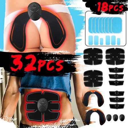 32Pcs/Set Smart ABS Stimulator, Buttocks Lifter Enhancer Abdominal Muscle Trainer Fit Full Body Home Office Exercise Shape Fitness Ab Core Toners Work