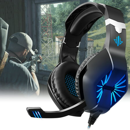 Gaming Headset for PS4, PC, Xbox One Controller, Noise Cancelling Over Ear Headphones with Mic, LED Light, Bass Surround, Soft Memory Earmuffs for Laptop Mac Nintendo Switch Games Phone Line Switch