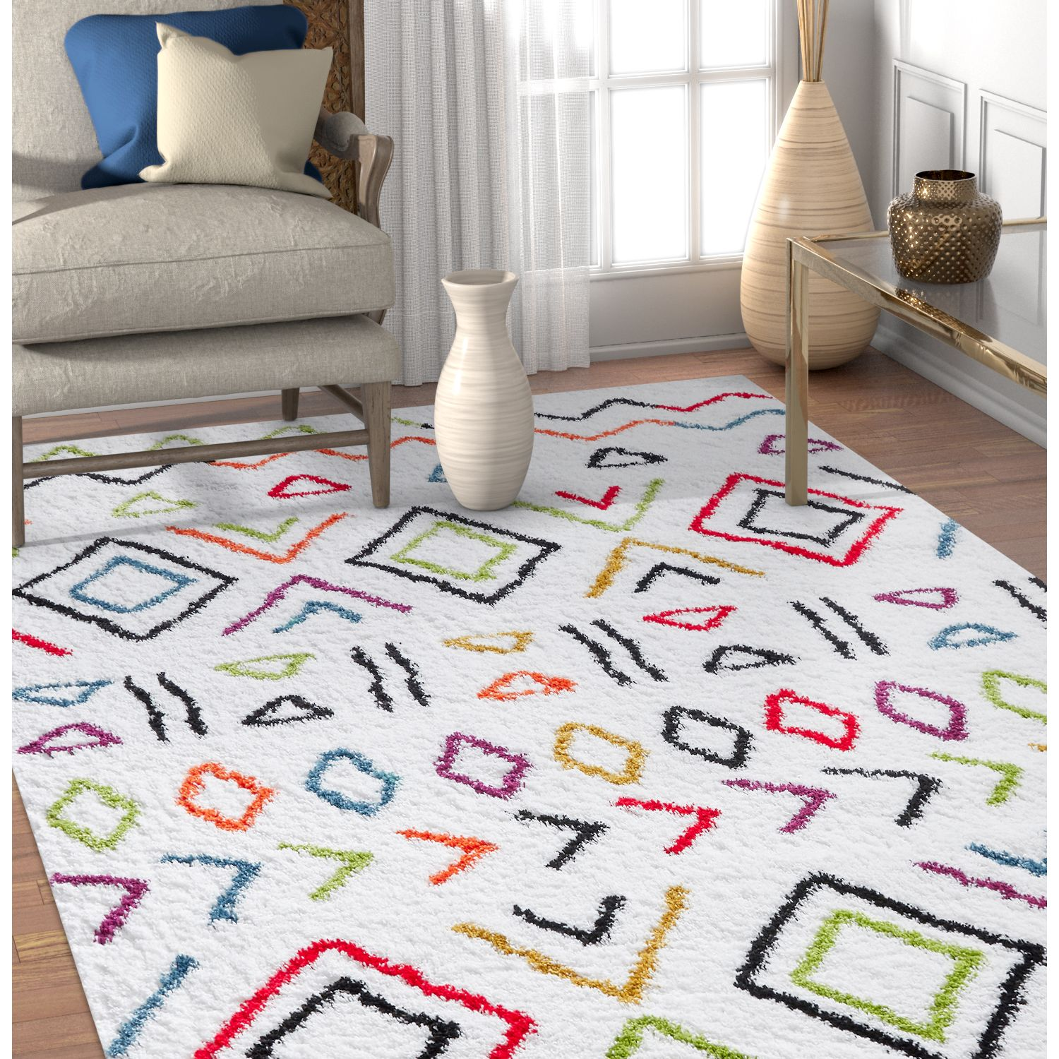 Well Woven Tribal Rhapsody Fes Moroccan Ethnic Shag White Area Rug