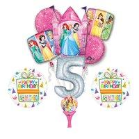 New! 9pc Disney Princess 5th BIRTHDAY PARTY Balloons Decorations Supplies
