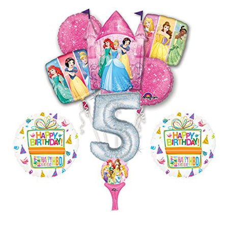 New 9pc Disney Princess 5th BIRTHDAY PARTY Balloons Decorations