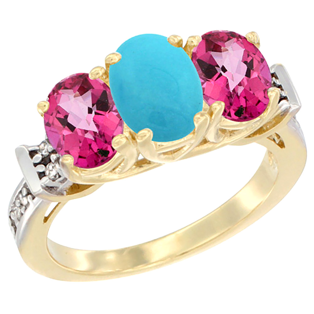 14K Yellow Gold Natural Turquoise & Pink Topaz Sides Ring 3-Stone Oval Diamond Accent, sizes 5 10 by WorldJewels
