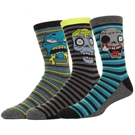 Mens Zombie Faces Crew Socks 3 Pack Great for Halloween Or Casual Everyday Wear - Halloween Crossfit Socks