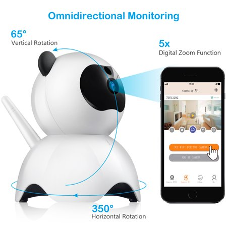 Wireless 1080P WiFi Baby Monitor Pet Camera, Alarm Home Security IP Camera, 2.4GHz, Two-Way Audio, Motion Detection, Pan 350°, Tilt 65° ,
