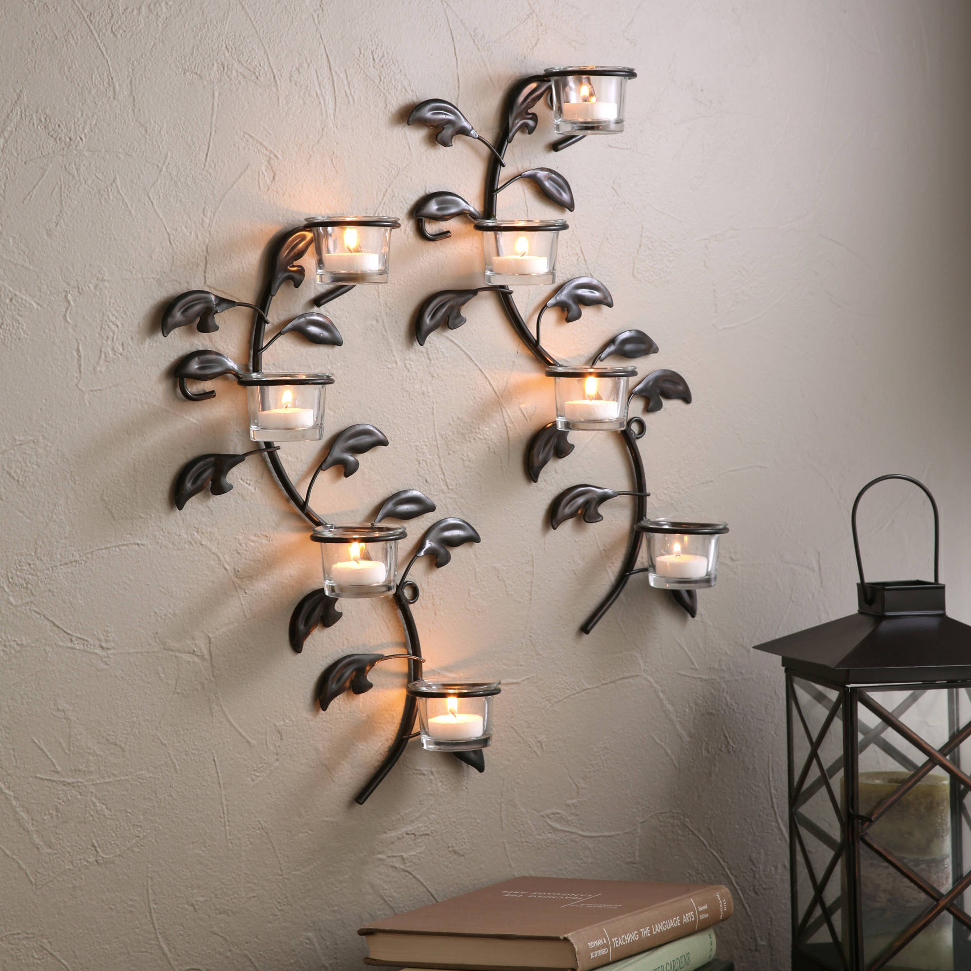 Click here to buy Better Homes and Garden Set of 2 Vine and Leaf Tealight Wall Sconce.