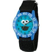 Cookie Monster Boys' Blue Plastic Time Teacher Watch, Black Hook and Loop Nylon Strap
