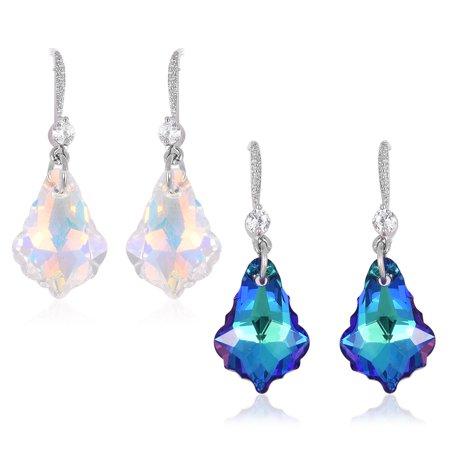 Silvertone White Cubic Zirconia CZ Love Heart Dangle Drop Earrings Cttw 9 (Cable Heart Drop Earrings)